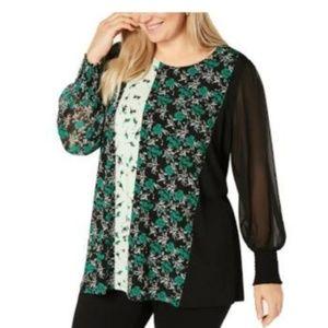 Alfani Plus Size Mixed-Print Tunic